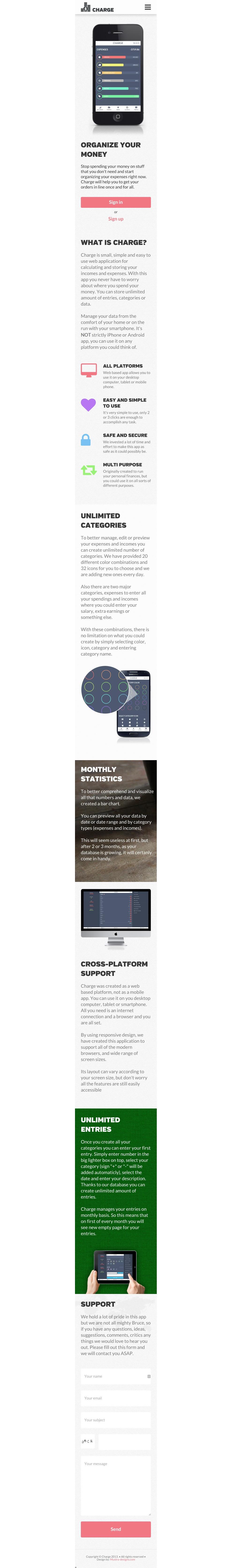 Responsive mobile page