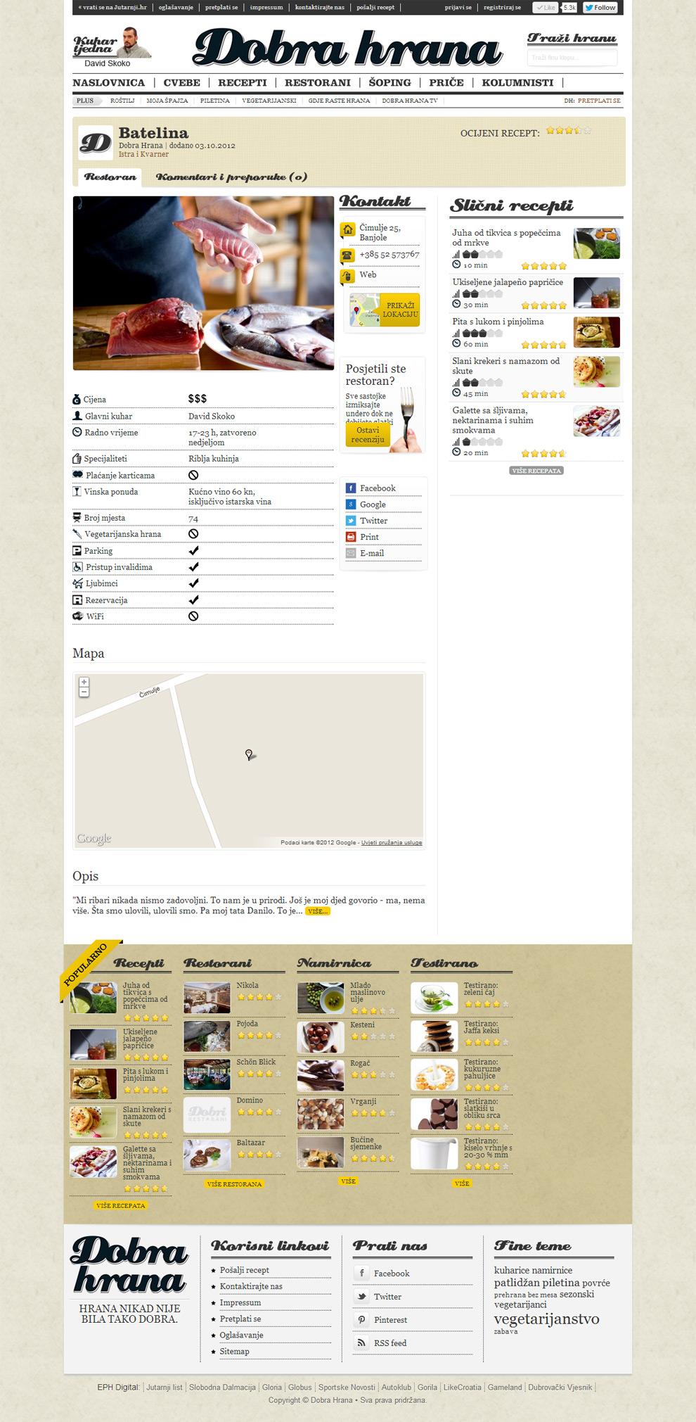 Rrestaurant single page