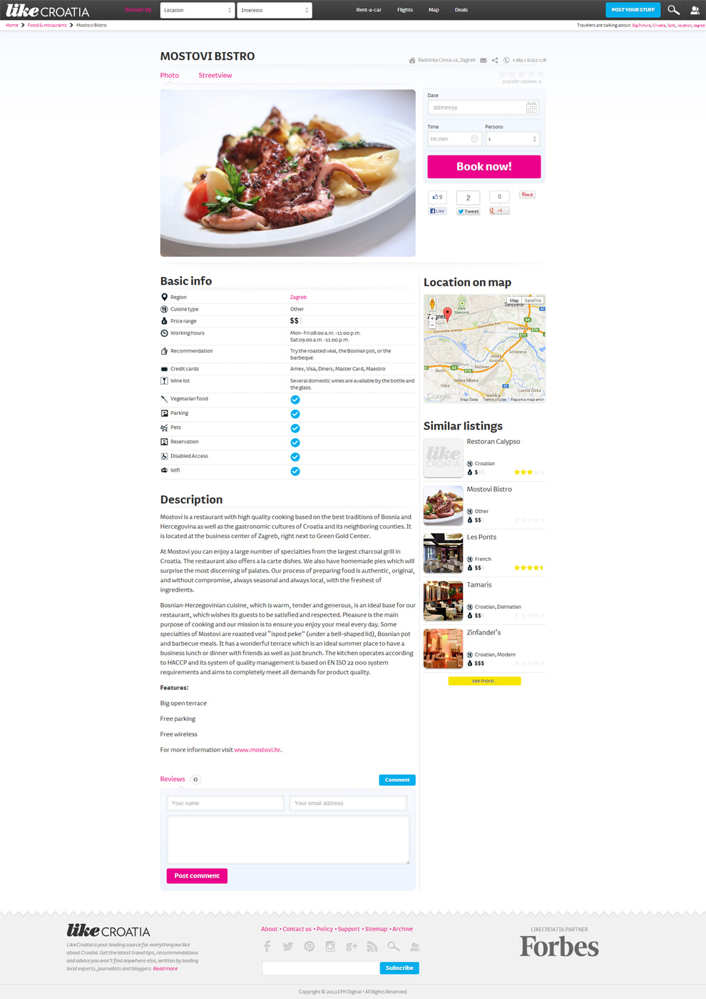 Single restaurant page